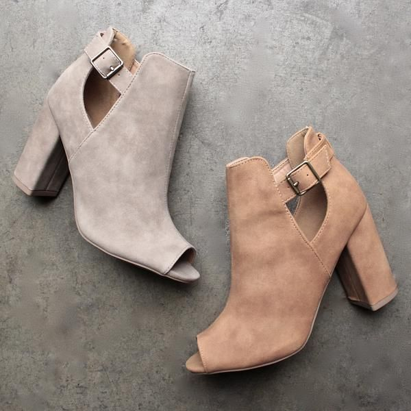 distressed peep-toe booties (more colors) - shophearts - 1