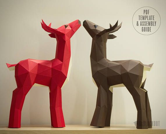 Deer Papercraft Template, Christmas Reindeer DIY Decor Craft - Printable PDF Show off your papercrafting skills to your family and friends this Christmas! Make your own beautiful papercraft deer with this PDF template and illustrated instructions. This stunning free-standing paper deer