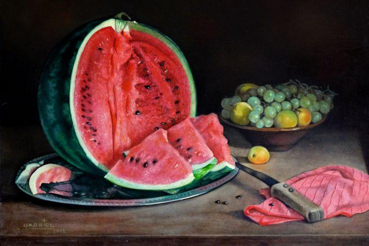 """Pintura al óleo """"La sandía"""" Autor:Gabriel"""
