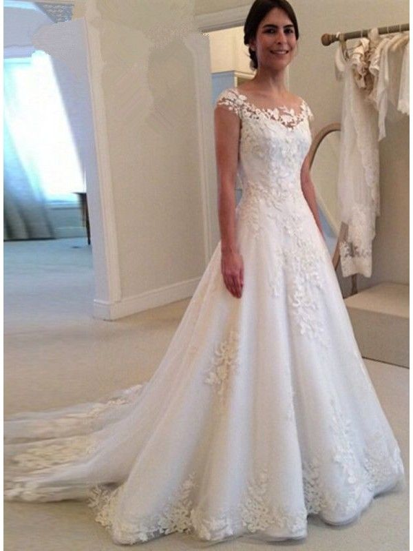 A LINE BUTTON BACK BEACH LACE WEDDING DRESS