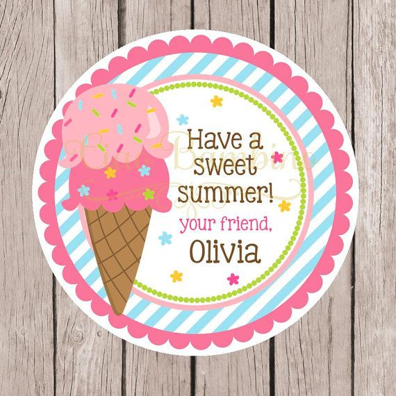 Ice cream birthday party favor tags or stickers pink blue green and yellow ice cream party ice cream social stickers set of 12