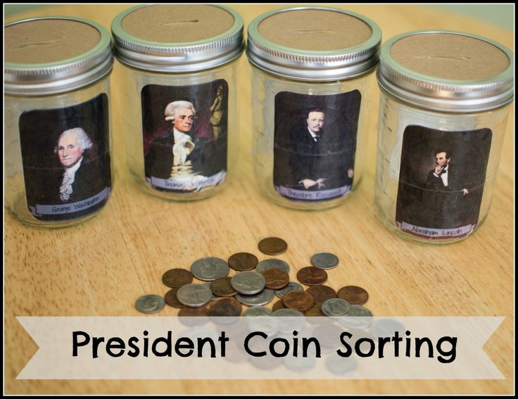 Coin sorting game for Presidents' Day! Free printable template!
