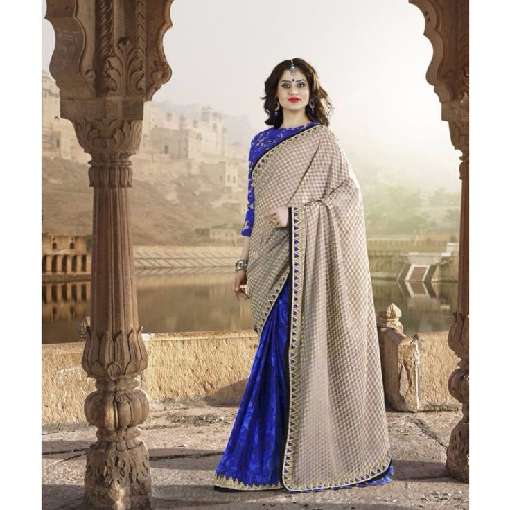 Navy Blue and Cream Georgette Party Wear #Saree- $173.33