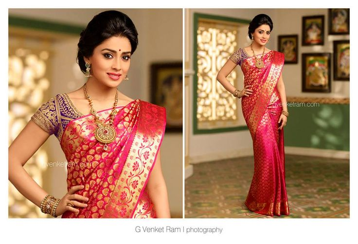 South Indian bride. Kanchipuram silk sari with contrast silk blouse.Temple jewelry. Braid with fresh flowers. Tamil bride. Telugu bride. Kannada bride. Hindu bride. Malayalee bride.