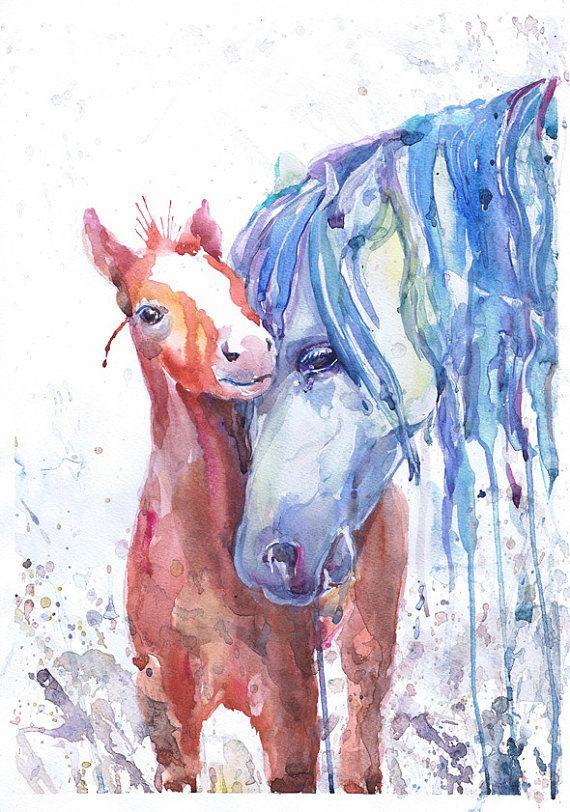 Pferd Kunst Pferdesport Dekor Aquarell Fohlen Colt von ValrArt