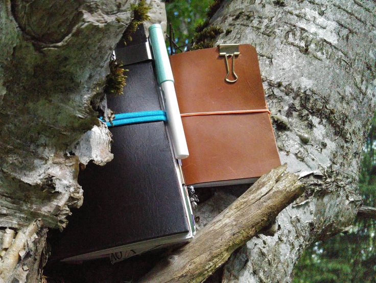 Underbara skogsklädda travelers notebooks.