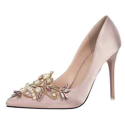 Mujer Estrás Perla en punta Stilettos Tacón Alto Zapatos De Boda Bombas E66
