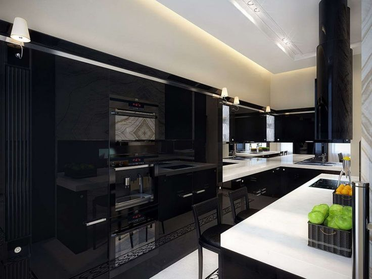 White Kitchen With Black Appliances ultra modern kitchens black gloss - hypnofitmaui