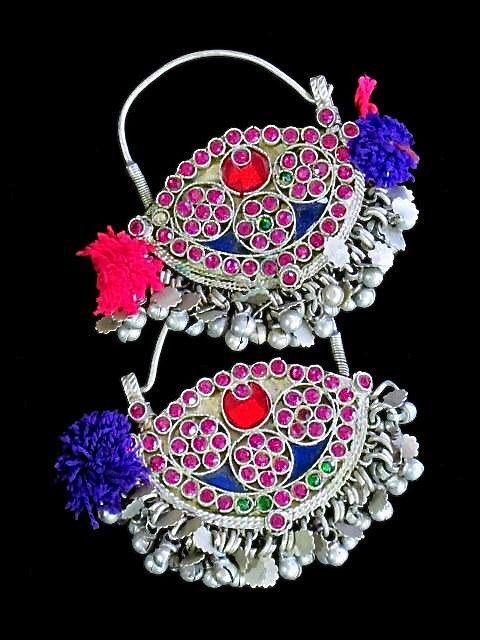Colourful silver earrings from Himachal Pradesh. Description by Pinner Mahua Roy Chowdhury.
