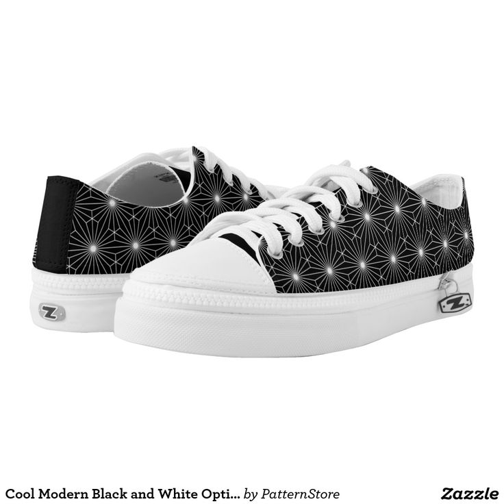 Cool Modern Black and White Optical Sparkle Printed Shoes