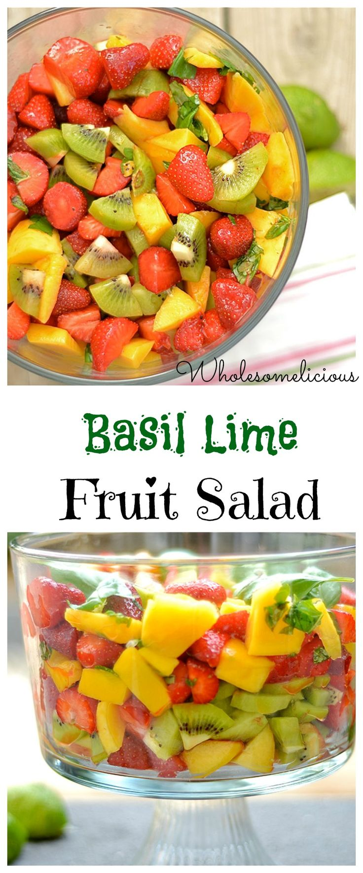 A perfect BBQ or picnic dish for the summer! Sweet summer fruits combine with a tangy basil lime syrup to dress up this gorgeous salad!