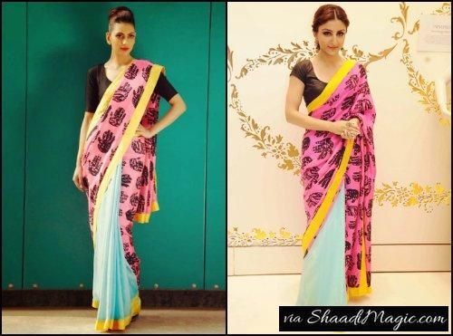Sangeet Ceremony Saree.  And for sangeet you will definitely get ready with some songs and games to bloom up the event. So you can have another light weight simple saree like this one worn by Actress Soha Ali Khan.