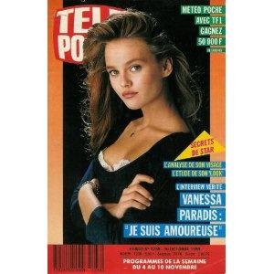 """Vanessa Paradis, l'analyse de son visage, l'étude de son look, l'interview vérité : """"Je suis amoureuse"""", dans Télé Poche (n°1238) du 30/10/1989 [couverture et article mis en vente par Presse-Mémoire]"""