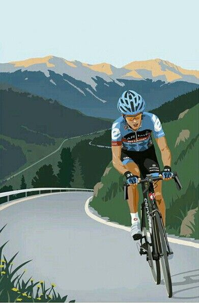 Great perspective on a typical mountain scene. Where would a mountain be without a cyclist? Thanks for sharing this pin Ernst. MAKETRAX.net - Bicycle ART