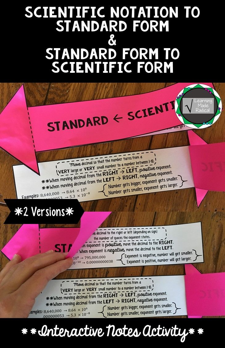 Best 25 standard form ideas on pinterest standard form in math scientific notation to standard form and vice versa interactive notes activity falaconquin