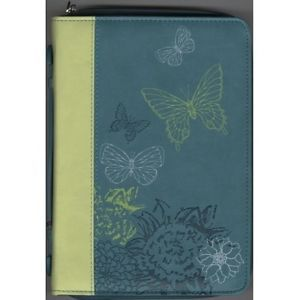 Butterflies Trendy LuxLeather Medium Lime/Dust Blue Bible Cover. Visit us at www.Gods411.org
