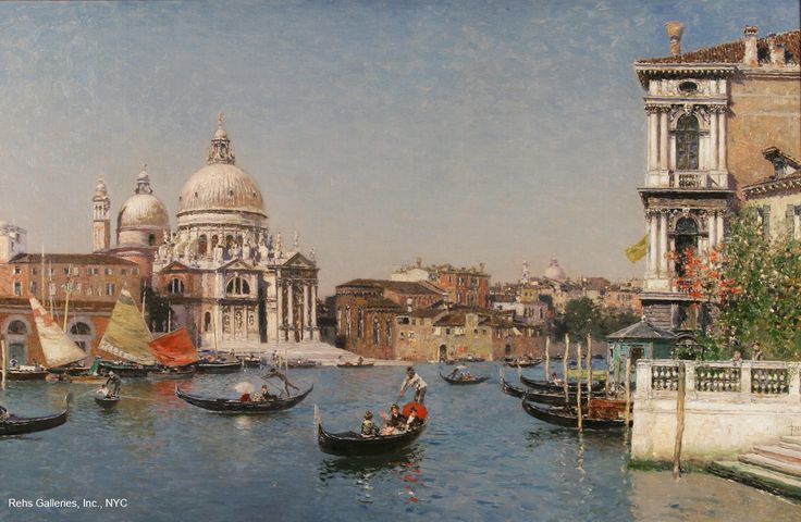 Martin Rico y Ortega (1833 - 1908) The Grand Canal, Venice Oil on canvas 18 1/4 x 28 1/2 inches Framed dimensions: 26 x 35 3/4 inches Signed - The view depicted is the entrance to the Grand Canal with a view of Santa Maria della Salute and to the side, the old monastery of San Gregorio.