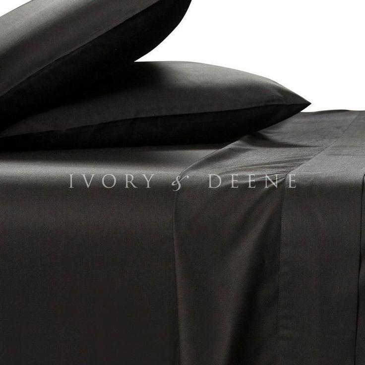 Bamboo Fibre King Bed Sheet Set in Black 400TC | Buy King Sheet Sets