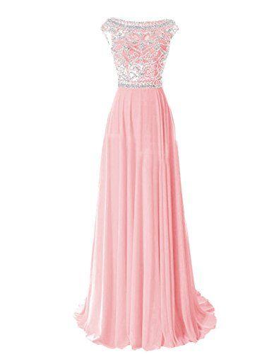 Tidetell Elegant Floor Length Bridesmaid Cap Sleeve Prom Evening Dresses Pink Size 2