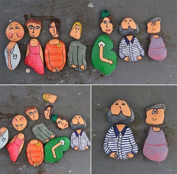 Rock painting...everybody do a self portrait, then frame them in a shadow box