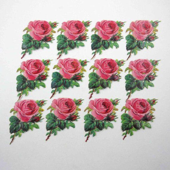 Vous obtenez un ensemble de 12 magnifiques chutes de jolies roses roses découpée. Ce sont des restes antiques réelles pas de reproductions. Mesurent environ 2 « x 3 1/4 ». Vous obtiendrez un ensemble comme ceux sur la photo !  Dans lensemble très bon état ! Pourrait montrer légère usure bord ou astuce. Vendu tel quel.  Parfait pour votre collage, technique mixte, assemblage, scrapbooking ou de projets dart altéré !  Toujours heureux de combiner SHIPPING sur plusieurs éléments ou navire sur…