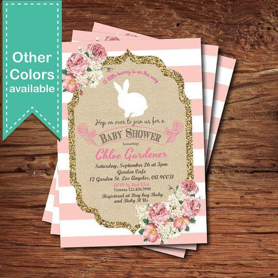 Bunny baby shower invitation. Easter baby shower invitation.