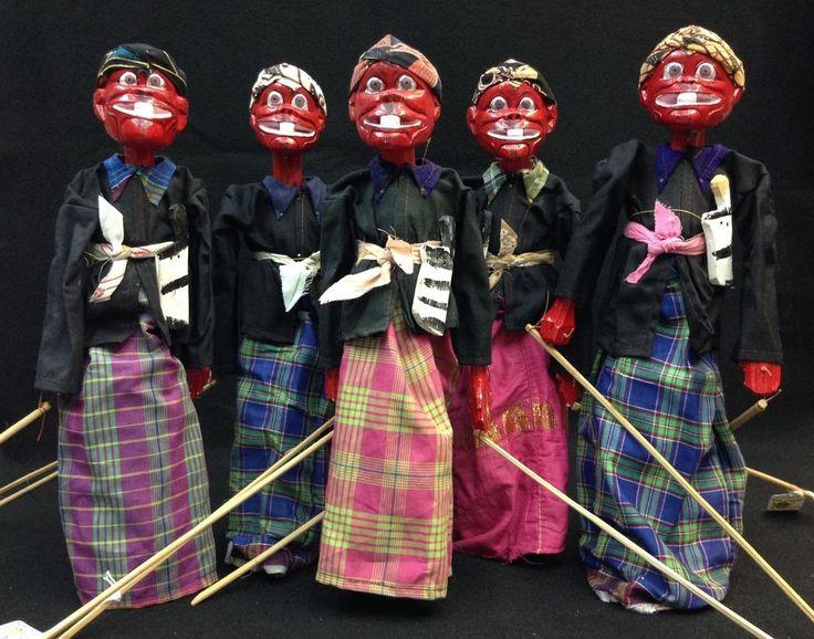 Wayang Golek Puppet Cepot from Java (Set of 5) by EthnicArtandJewelry