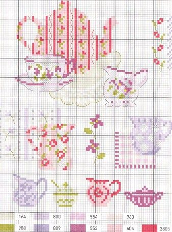 Tea cross stitch pattern, 1