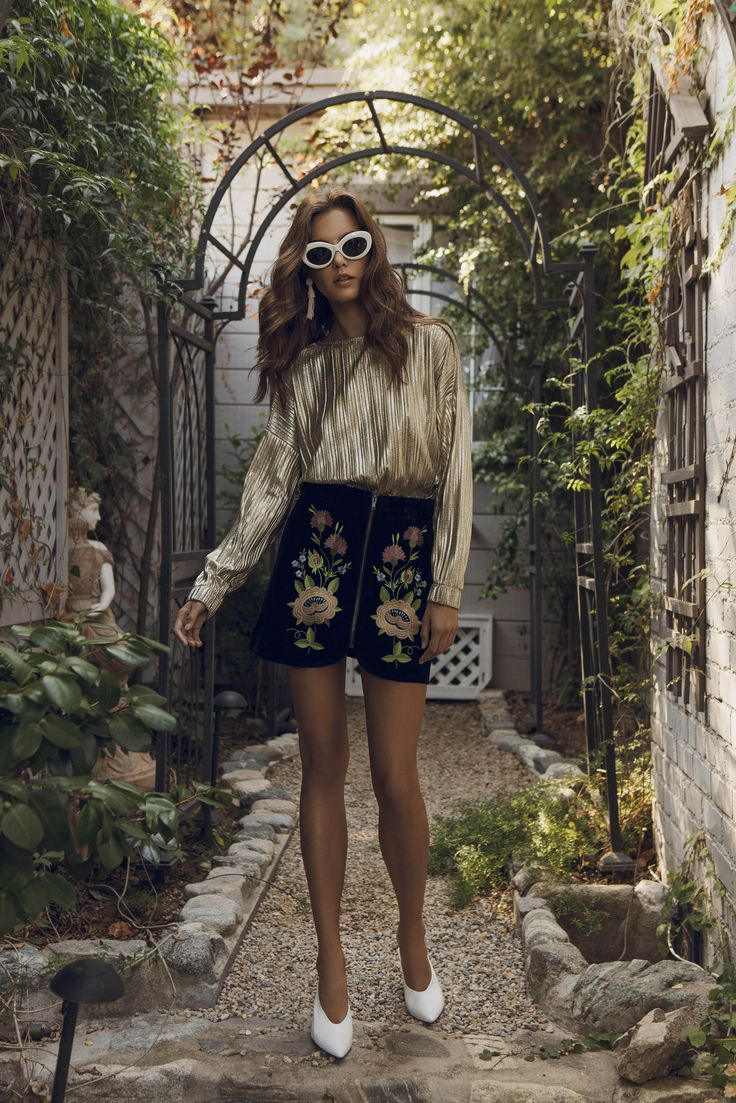 Gold top + Flower black Skirt