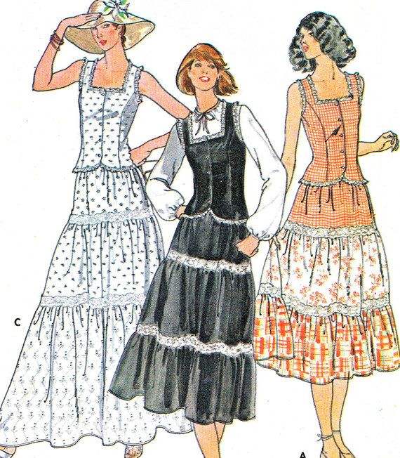 Vintage 1970s Quick Butterick 6053 top and skirt. Fitted, lined to edge top has square neckline, princess seaming, from buttoned closing, cut away