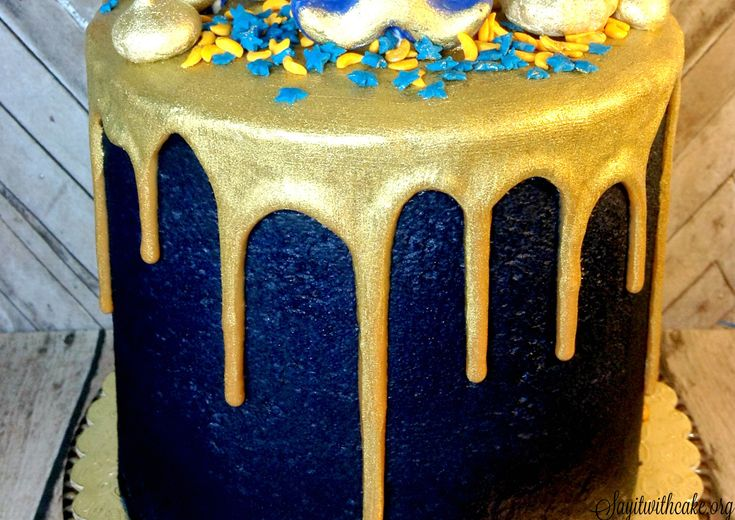 Blue And Gold Boy Scout Cake With Gold Ganache New
