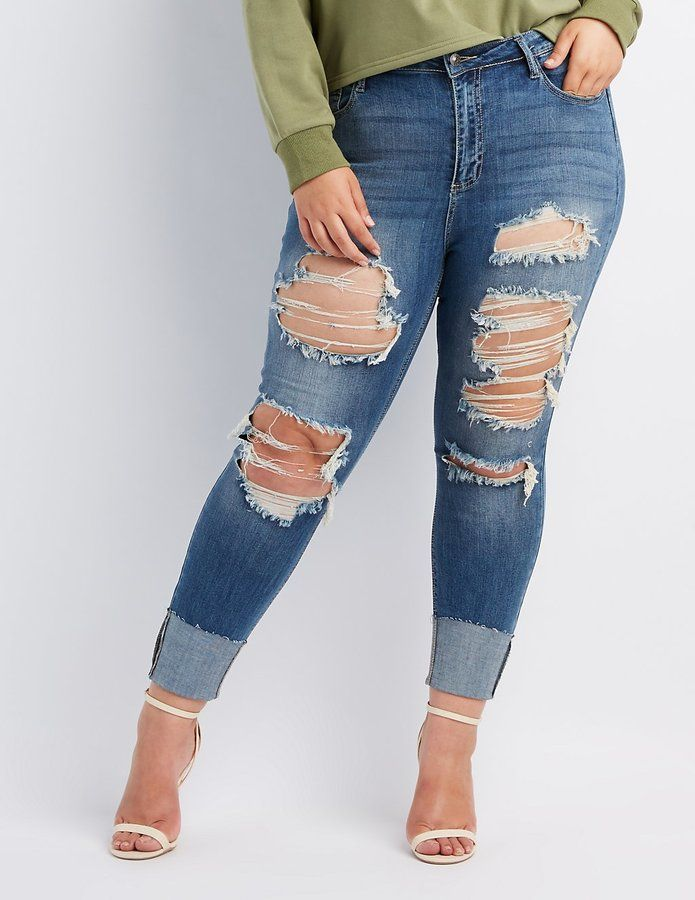 Charlotte Russe Plus Size Cello Destroyed Cuffed Skinny Jeans