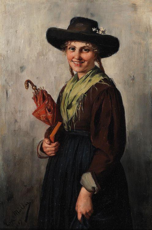Emma Müller von Seehof (Austrian, 1859 – 1925): Mädchen beim Kirchgang (1889) (via Dorotheum)