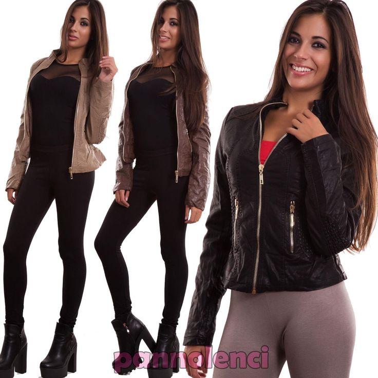 Giacca donna ecopelle giubbino giacchetto giubbotto maniche lunghe nuovo LU9003 | eBay