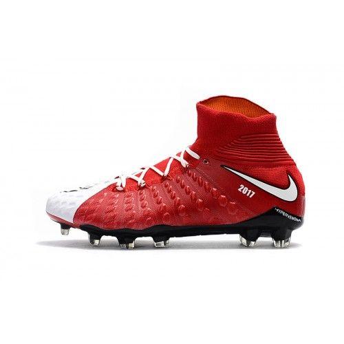 Billige Fodboldstøvler Tilbud - Bedst 2017 Nike Hypervenom Phantom III DF FG Hvid Rod Fodboldstovler