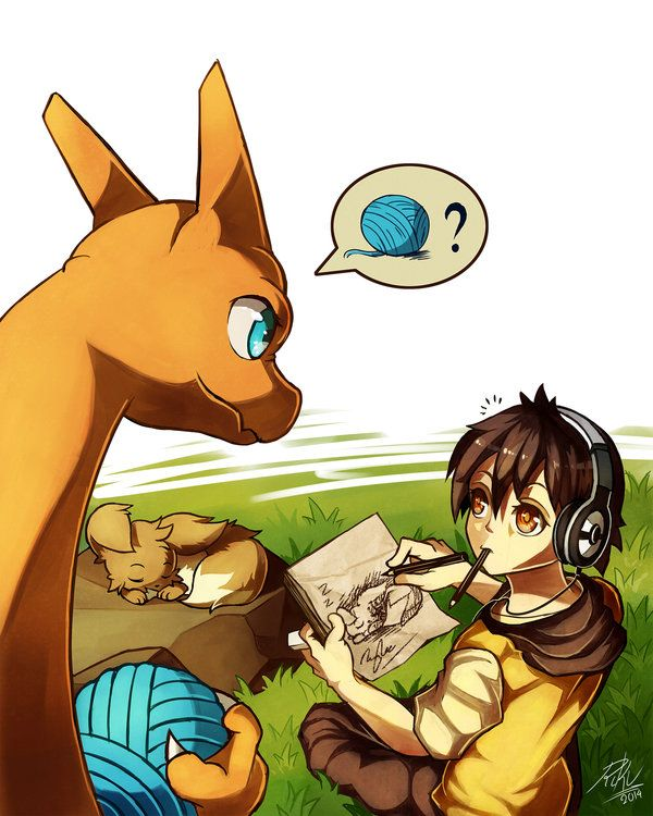 Let's play by RikuAoshi.deviantart.com on @deviantART (Trainer drawing a sleeping Eevee, while Charizard wants to play)