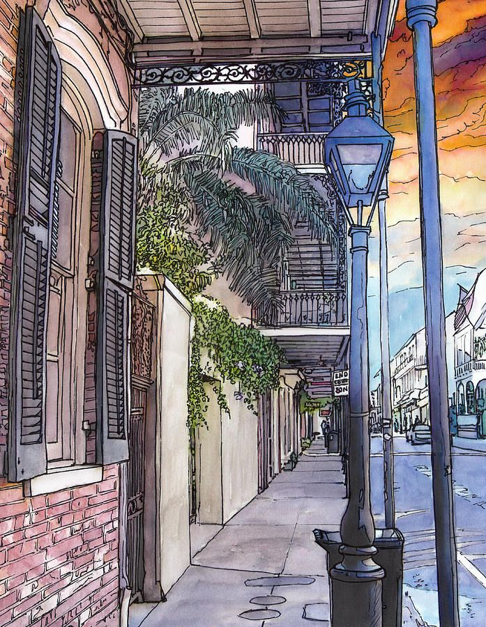 John Boles   WATERCOLOR          French Quarter Sidewalk