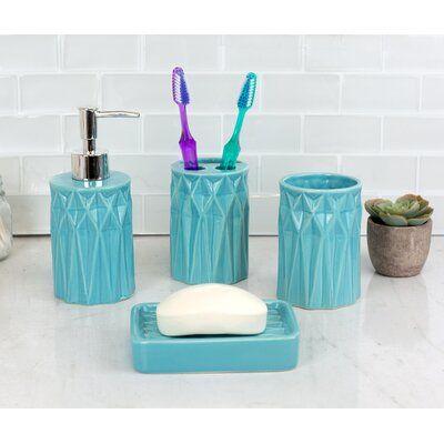 Wrought Studio Moorer Ceramic Prism 4 Piece Bathroom Accessory Set Finish Turquoise Bathroom Accessories Sets Bathroom Accessories Bath Accessories