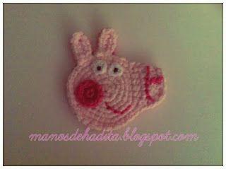 EXPLICACIONES - Aplique de Peppa Pig a crochet