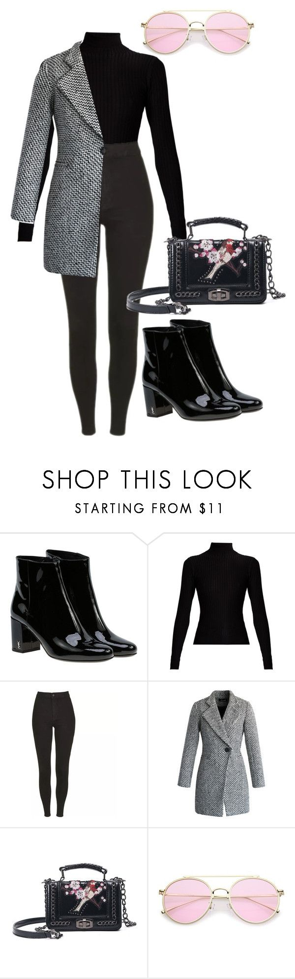 """""""Street style"""" by wiktoria-duszynska ❤ liked on Polyvore featuring Yves Saint Laurent, Acne Studios and Chicwish"""