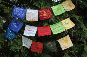 Creating Peace Flags inspired by the Prayer Flags of Tibet. Peace Flags provide you with a special way to express some of the most important wishes of your heart. In words or pictures, you can display positive wishes for yourself, your family, friends, community, or the world.