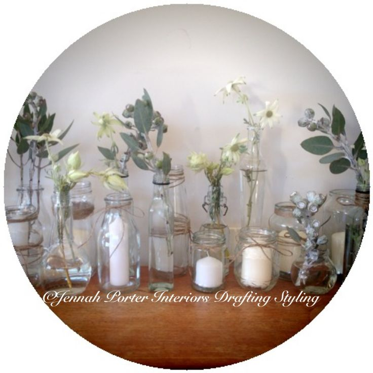 Flowers and recycled jars/ vases styled by Jennah Porter Interiors Drafting Styling