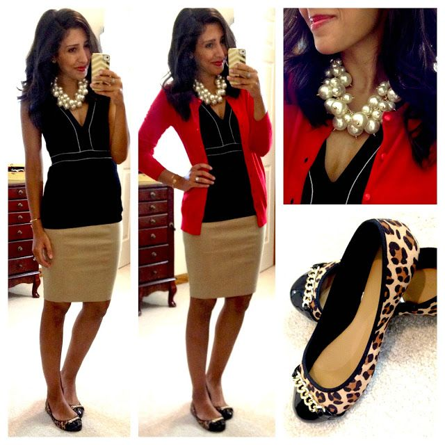 Hello, Gorgeous!: Black House|White Market top, Zara pencil skirt, Old Navy cardigan, Target Merona Madeline Chain Ballet Flat (in leopard print), Luxe Pearl Cluster Necklace C/O T+J Designs, Stella & Dot Gilded Arrow Bangle C/O Erika Lehman