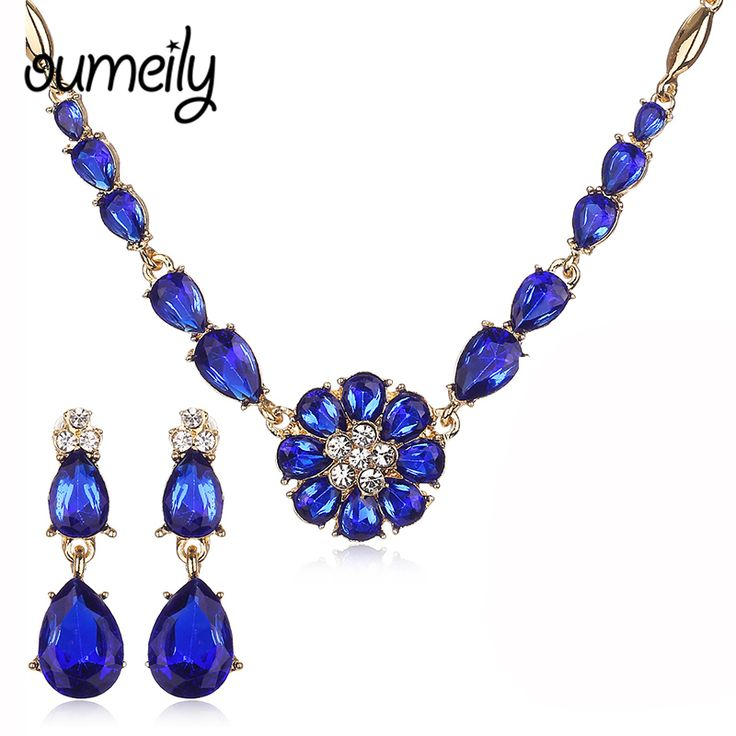 OUMEILY Women Charm Accessories African Jewelry Sets For Wedding Bridal Pendant Statement Imitation Crystal Necklace Earrings