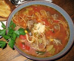 Italian Minestrone Soup Recipe (with mini meatballs)