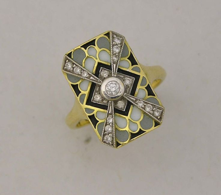 Fine masriera 18karat yellow gold enamel diamond ring for Nancy b fine jewelry
