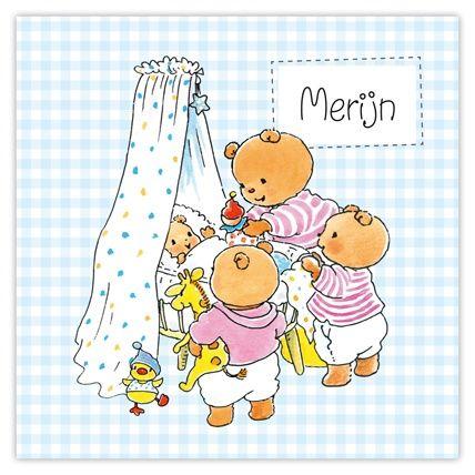 Vrolijke, lief geboortekaartje Bobbi beertje Monica Maas voor vierde kindje op komst.