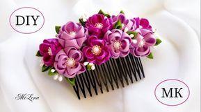ГРЕБЕНЬ КАНЗАШИ, МК / DIY Kanzashi Hair Comb
