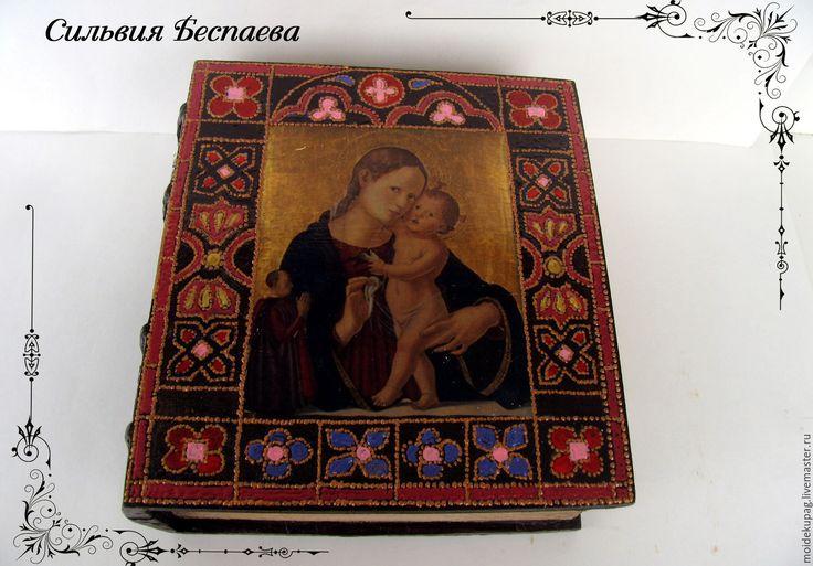 Купить Шкатулка фолиант Мадонна с младенцем и святыми - шкатулка ручной работы, шкатулка для мелочей
