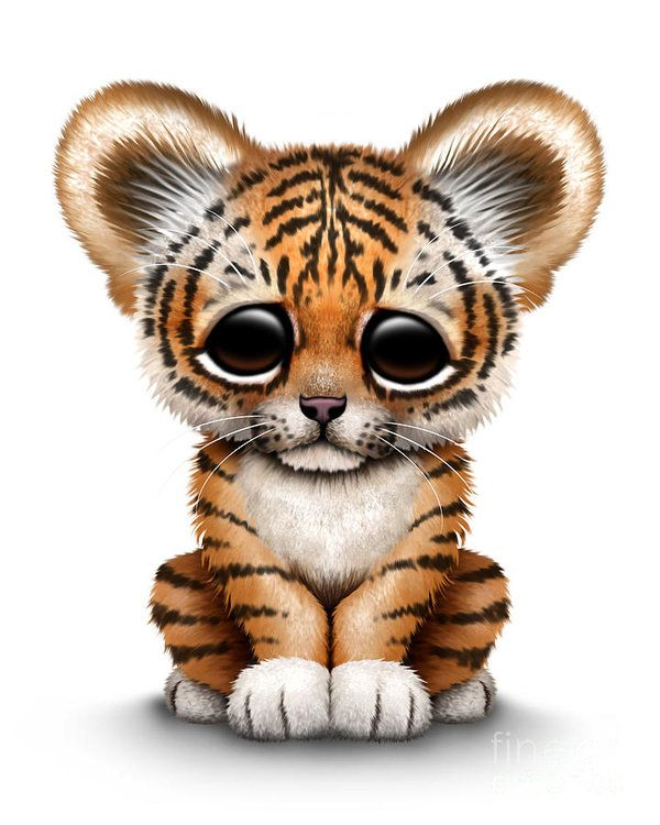 Tiger Print featuring the digital art Cute Baby Tiger Cub by Jeff Bartels
